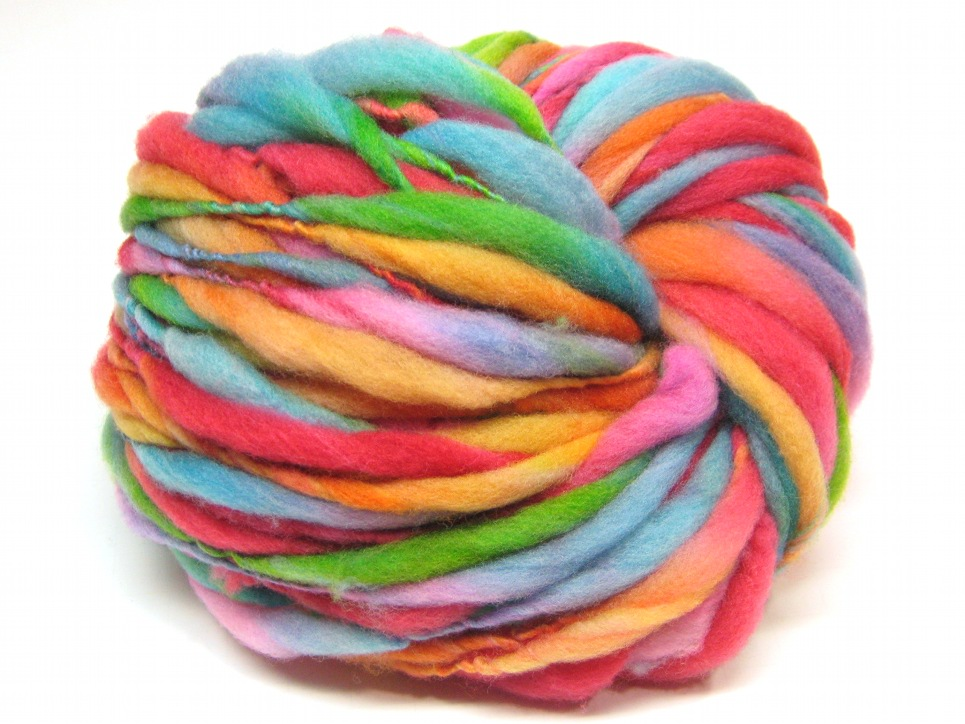 Handspun Rainbow Yarn, Spun Thick And Thin In Merino Wool- 57 Yards, 1.9 Ounc...