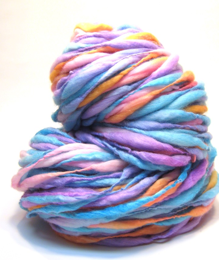 84 yards and 4.8 ounces handspun yarn in thick and thin merino wool